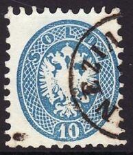 FRANCOBOLLO LOMBARDO VENETO 1864 STEMMA S.10 DENT. 9 1/2 USATO ANNULLO VENEZIA