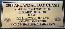 ESSENDON BOMBERS ANZAC DAY CLASH  2013Gold  Plaque F/Post