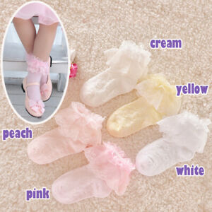 Girls Baby Toddlers Kids Frilly Lace Ankle School Wedding Party Socks 9m- 8years