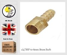 """1/4"""" BSP to 6 mm Brass Male Barb Hose Tail Fitting Fuel Air Gas Water Oil UK 63"""