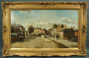 Antique 1880 British Oil Painting HALF MOON INN Street Scene Signed Illegibly