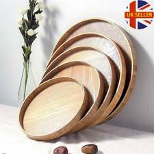 UK Wood Tray Tea Fruit Food Server Dishes Plate Wooden Round Solid Tray