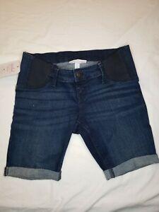 Isabel & Ingrid Maternity Bermuda Denim Dark Wash Shorts Size 4 Stretch Waist