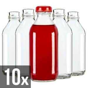 10 x Glass Bottle 330 ml Juice Fruit Preserve Liqueur Beverage Twist Cap