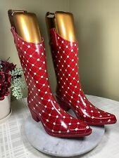 NWOB Stadium Stompers Red Dot Women's Rubber Cowboy Rain Boots Size EU 39 US 8 M