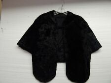 Vtg Glentex Black Shaw, Wrap, Crush Velvet Feel , W/ Snap Hook Satin Feel Liner