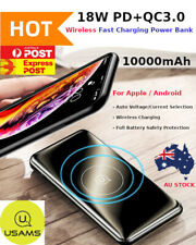 USAMS 10000mAh PD QC 3.0 Fast Quick Charging Power Bank Charger 10W Wireless