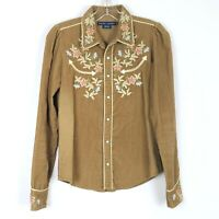 RALPH LAUREN Western Shirt Floral Embroidered Corduroy Pearl Snap Women's size 6