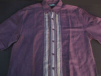 Cubavera Mens Button Front Short Sleeve Purple Ramie Rayon Striped Shirt Small S