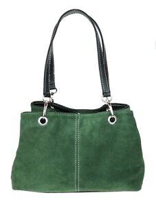 Italian Genuine Suede Vera Pelle Shoulder Bag Multi Compartments Designer