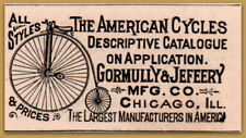 1887 Gormully & Jefeery Co American Cycles  Bicycles Print Ad