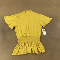 Free Kisses Women's Size Medium Mustard Short Sleeve Mock Neck Ruffle Blouse NWT