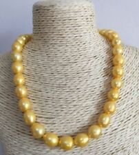 """12-14MM NATURAL SOUTH SEA GENUINE GOLDEN PEARL NECKLACE 18"""" 14K GOLD CLASP"""