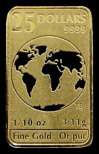 2016 GOLD ROYAL CANADIAN MINT CANADA 1/10 OZ .9999 FINE GOLD $25 BAR
