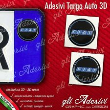2 Adesivi Stickers bollino 3D Resinato targa Auto Moto FIAT Black & Blu