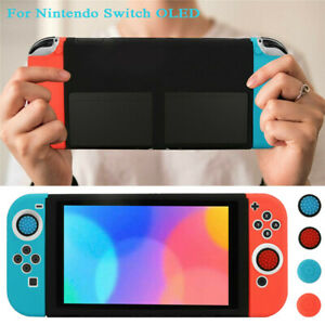 Anti-Slip Protective Case Silicone Cover w/ Thumb Grips for Nintendo Switch OLED