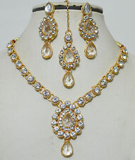 Indian Bollywood Goldtone Stone Kundan Necklace Earring Ethnic Party Jewelry Set