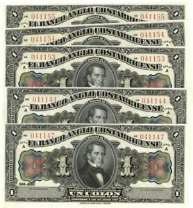 Lot of 5 Costa Rica Banco Anglo Costarricense 1 Colon Banknote 1917 CU