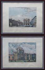 2 incisioni acquerellate 800 Brescia Piazza Mercato Loggia Chiesa dei Miracoli