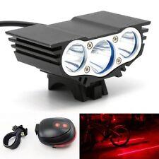 6600LM 3x CREE T6 LED Bicycle Bike Light Headlamp Lighting+Laser Tail Rear Light