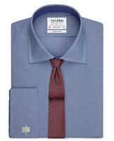 T.M.Lewin Mens  Dogtooth Regular Fit Royal Blue Double Cuff Shirt