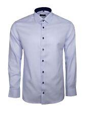 Eterna Herren Hemd Langarm Modern Fit Hemden 4671/11/X14P Blau Struktur M/40