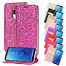 For Samsung S8 S9 Note 9 Flip Leather Bling Sparkle Wallet Card Stand Case Cover