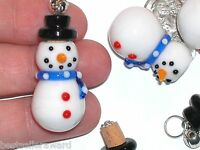1pc Murano Glass Christmas Snowman essential oil perfume cork little bottle rare