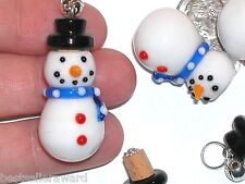 1pc Murano Glass Christmas Snowman essential oil perfume cork little bottle rare