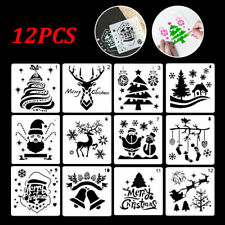 12Pcs Layering Merry Christmas Stencils Window Painting Bullet Journal Template