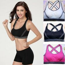 Women Seamless Racerback Padded Sports Bra Yoga Fitness Stretch Workout Tank Lot