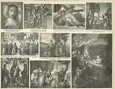 LAVAGNA PITTURA ITALIANA/Leonardo Michelangelo// 1894 ORIGINALE-Legno Chiave