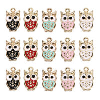 10Pcs/Lot Owl Enamel Alloy Charms Pendant Necklace DIY Craft Jewelry Making GiTS