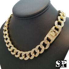 "Hip Hop Men's Quavo Gold PT Iced Out 15mm 16"" Miami Cuban Choker Chain Necklace"