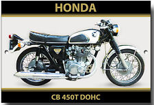 HONDA CB 450T DOHC moto métal plaque.vintage Motos Japonaises