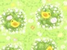"2 yards Spring Fling 100% Cotton Fabric 44"" Wide Chicks and Eggs Green Yellow"