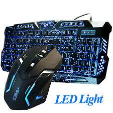 Gaming Combo Set Wired Keyboard and Mouse LED Illuminated Backlight USB Bundle