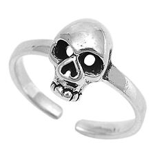 Fashionable! Skull Ring 925 Silver Midi Finger Adjustable Ring Womens Gift