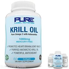 Krill Oil 1000mg w/ Astaxanthin 60 Caps Pure-K  Fish Oil Omega 3
