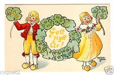 POSTCARD SWEDISH CHRISTMAS & NEW YEAR CHILDREN SIGNED ADINA SAND