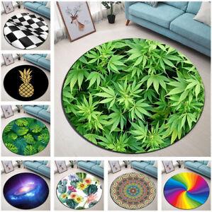 Various Type Mandala Tropical Leaf Round Mat Bedroom Carpet Living Room Area Rug