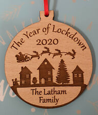 PERSONALISED CHRISTMAS TREE DECORATION LOCKDOWN FAMILY BAUBLE WOOD or SILVER