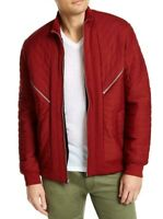 INC Mens Jacket Red Size XL Quilted Front Zip Faux-Fur Lined Zip-Detail $99 #018