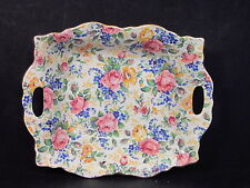 James Kent ROSALYNDE HANDLED BOWL Chintz EmbossedYellow & Pink Roses Floral