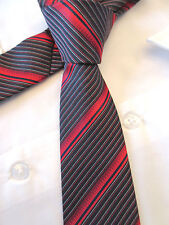 DEVICE CHILDS RED BLACK STRIPED 2.5 INCH WIDE POLYESTER NECK TIE