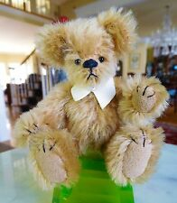 "Signed Ooak 4"" Miniature Mohair Humpback Teddy Bear w/ Suede Collar Joyce Smith"