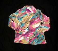 Erin Women's Shiny Multicolor Button Front Shirt Size M NWT