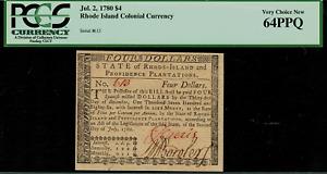 RI-285 Colonial Currency - Rhode Island July 2, 1780 $4 Graded PCGS 64PPQ