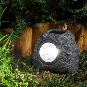 Pack of 4 Granite Rock Solar Garden Lights Super Bright Outdoor Path Lights