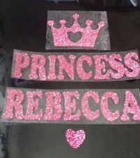 Iron on transfer of crown, princess + name in 8 colour choices size 20cm x 2.5cm